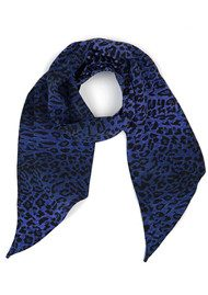 RIXO London Exclusive Alexa Neck Scarf - Blue Leopard