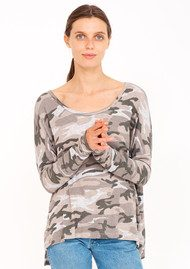 SUNDRY Button Back Sweater - Camo