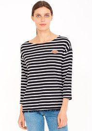 SUNDRY Maritime Lips Pom Pom T-Shirt - Black Stripe