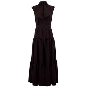 Tie Detail Maxi Satin Dress - Black