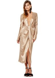 BEC & BRIDGE Shimmy Nights Long Sleeve Dress - Gold