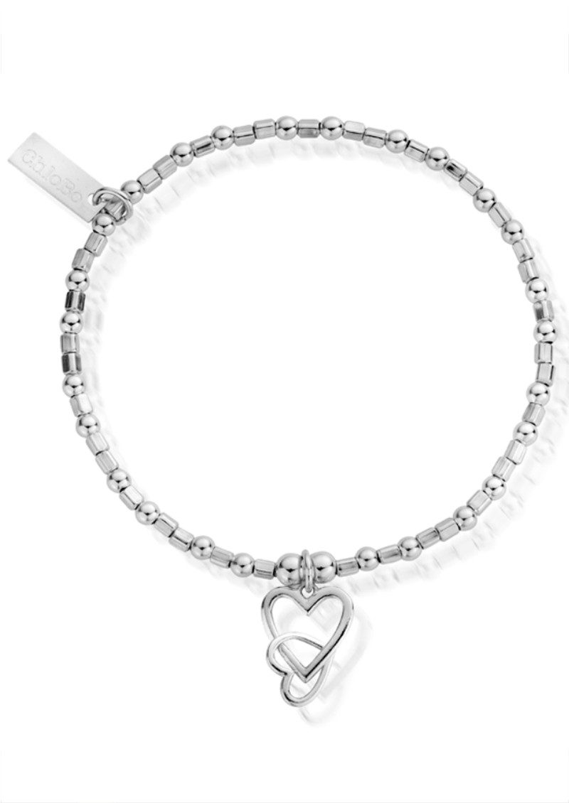 ChloBo Mini Cube Interlocking Love Heart Bracelet - Silver main image