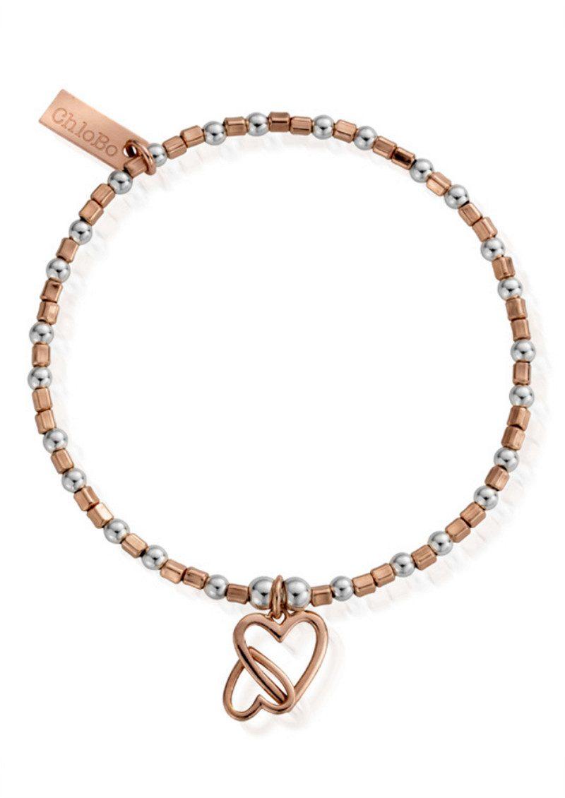 ChloBo Inner Spirit Interlocking Love Heart Bracelet - Silver & Rose Gold main image