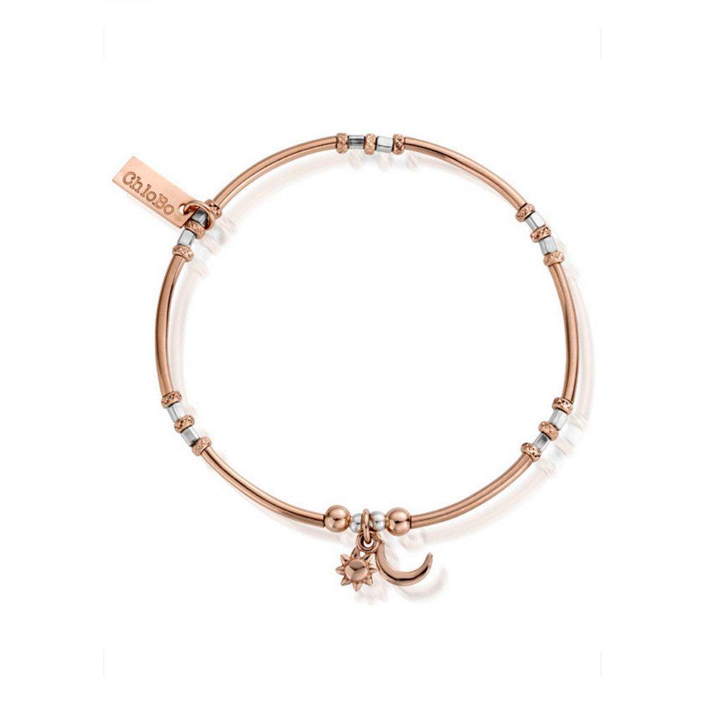Inner Spirit Dainty Moon & Sun Bracelet - Silver & Rose Gold