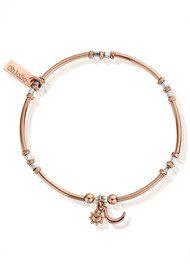 ChloBo Inner Spirit Dainty Moon & Sun Bracelet - Silver & Rose Gold