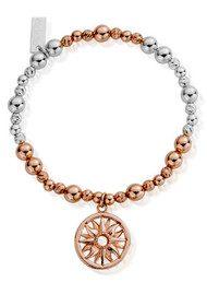 ChloBo Inner Spirit Sun Mandala Bracelet - Rose Gold & Silver
