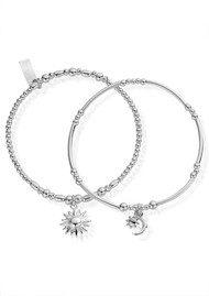 ChloBo Inner Spirit Dusk To Dawn Set of 2 Bracelets - Silver