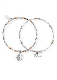 ChloBo Inner Spirit Dusk To Dawn Set of 2 Bracelets - Rose Gold & Silver
