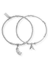 ChloBo Inner Spirit Strength & Courage Set of 2 Bracelets - Silver