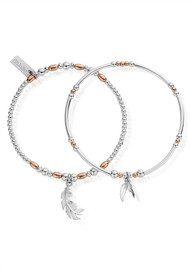 ChloBo Inner Spirit Strength & Courage Set of 2 Bracelets - Rose Gold & Silver