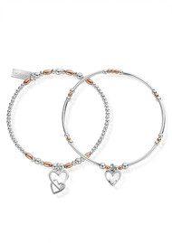 ChloBo Inner Spirit Double Devotion Set of 2 Bracelets - Rose Gold & Silver