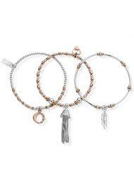 ChloBo Inner Spirit Stack of 3 Bracelets - Rose Gold Silver