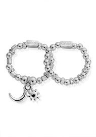 ChloBo Inner Spirit Moon & Sun Set of 2 Rings - Silver