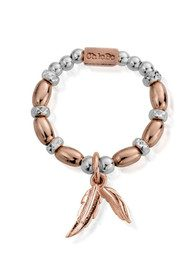ChloBo Inner Spirit Dainty Double Feather Ring - Rose Gold & Silver