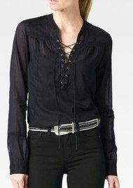 Paige Denim Tansy Cotton Blouse - Black