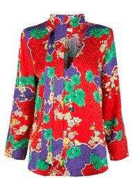RIXO London Sadie Neck Tie Blouse - Red Cherry Blossom