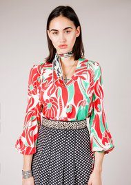 RIXO London Orlagh Blouse - Abstract Oriental