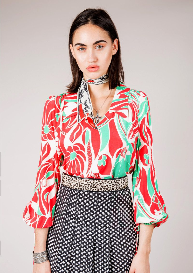 RIXO London Orlagh Blouse - Abstract Oriental main image