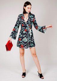 RIXO London Iris Wrap Silk Dress - Green Oriental Sky