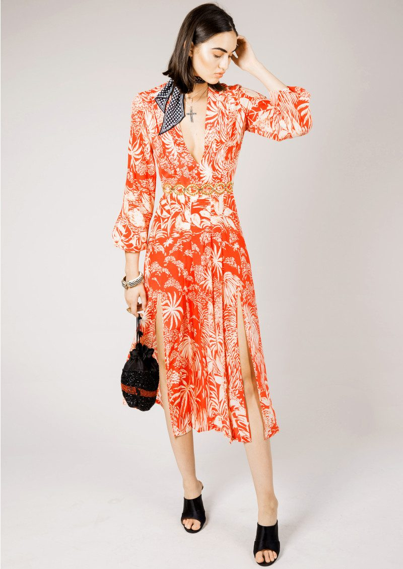 RIXO London Camellia Dress - Red Oriental Jungle main image