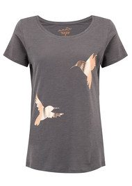 ON THE RISE Hummingbirds T-Shirt - Grey & Rose Gold