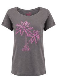 ON THE RISE Palm Tree Outline T-Shirt - Grey & Neon Pink