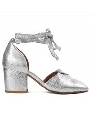 Hudson London Nena Leather Heels - Silver