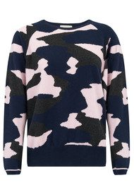 JUMPER 1234 Camo Cashmere Jumper - Navy, Charcoal and Ice Pink