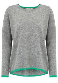 JUMPER 1234 Neon Stripe Cashmere Jumper - Mid Grey & Green