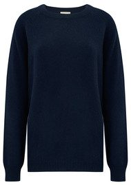 JUMPER 1234 Striped Pocket Boyfriend Cashmere Jumper - Navy