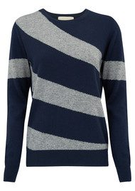 JUMPER 1234 Hoop Stripe Crew Jumper - Navy & Mid Grey