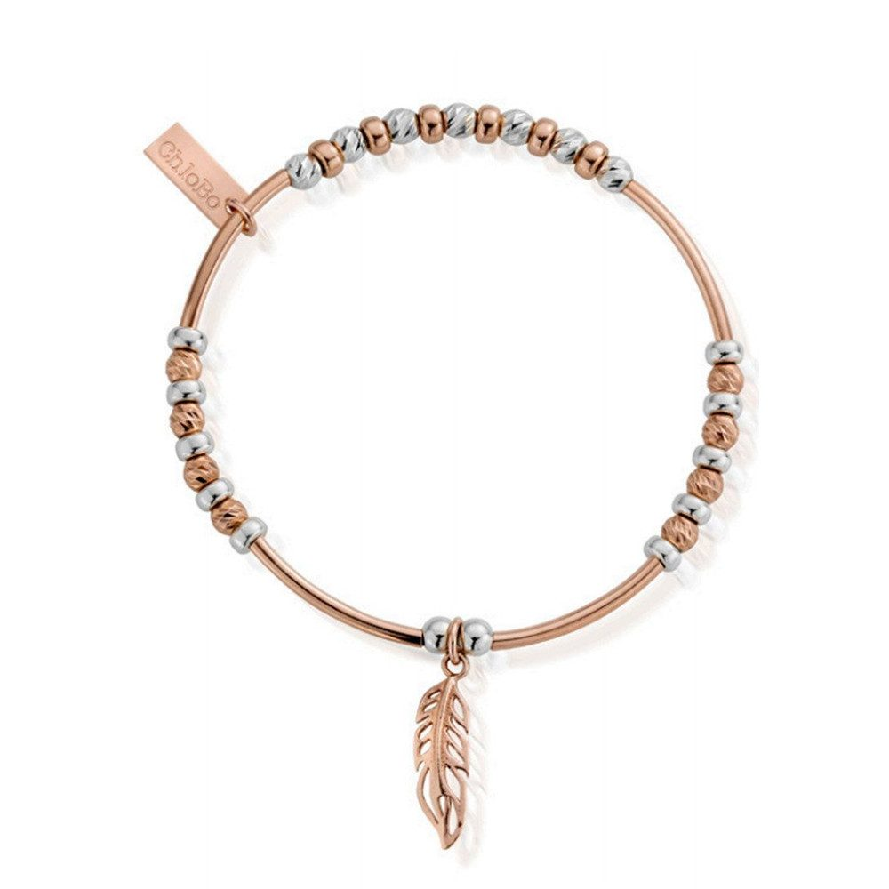 Inner Spirit Sparkle Filigree Feather Bracelet - Silver & Rose Gold
