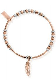 ChloBo Inner Spirit Sparkle Filigree Feather Bracelet - Silver & Rose Gold