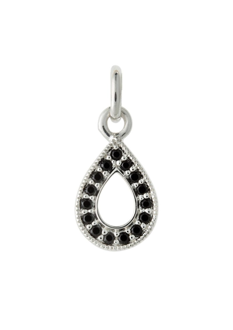 Bespoke Teardrop Outline Black Spinel Charm - Silver main image