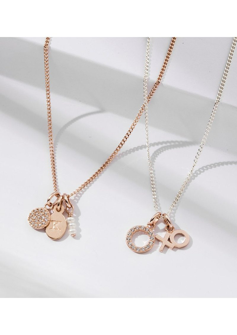 KIRSTIN ASH Bespoke Wishbone Heart Double Charm - Rose Gold main image
