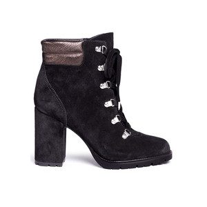 Carolena Suede Biker Boot - Black & Pewter