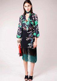 RIXO London Freya Dragon Embroidery Fringe Skirt - Black