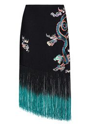 RIXO London Freya Dragon Embroidery Fringe Skirt - Black