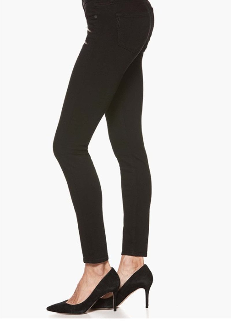 Paige Denim Edgemont Mid Rise Skinny Jeans - Black Shadow main image