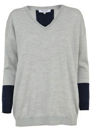 Great Plains Mumbles Merino Wool Jumper - Grey Melange & Classic Navy