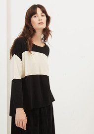 Great Plains Colette Block Striped Jumper - Black & Birch Cream