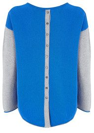 COCOA CASHMERE Colour Block Cashmere Jumper - Electric Blue & Grey