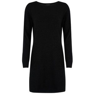 Plain Sparkle Cashmere Dress - Black