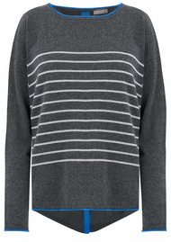 COCOA CASHMERE Stars & Stripes Lurex Cashmere Sweater - Ash & Electric Blue