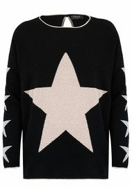 COCOA CASHMERE Star Lurex Cashmere Sweater - Black