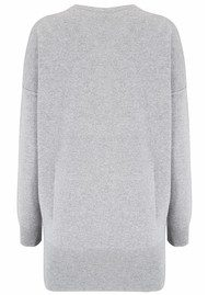 COCOA CASHMERE Drop Shoulder Lurex Sweater - Grey & Silver