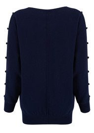 COCOA CASHMERE Button Detail Cashmere Sweater - Navy