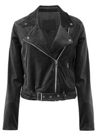 Paige Denim Shanna Velvet Biker Jacket - Black