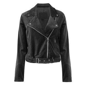 Shanna Velvet Biker Jacket - Black
