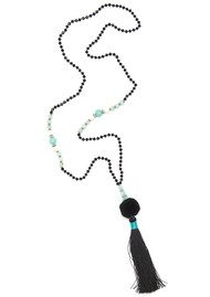 TRIBE + FABLE Pom Pom Necklace - Black & Jade Green